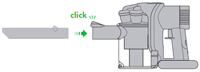 diagram showing how to use the crevice tool